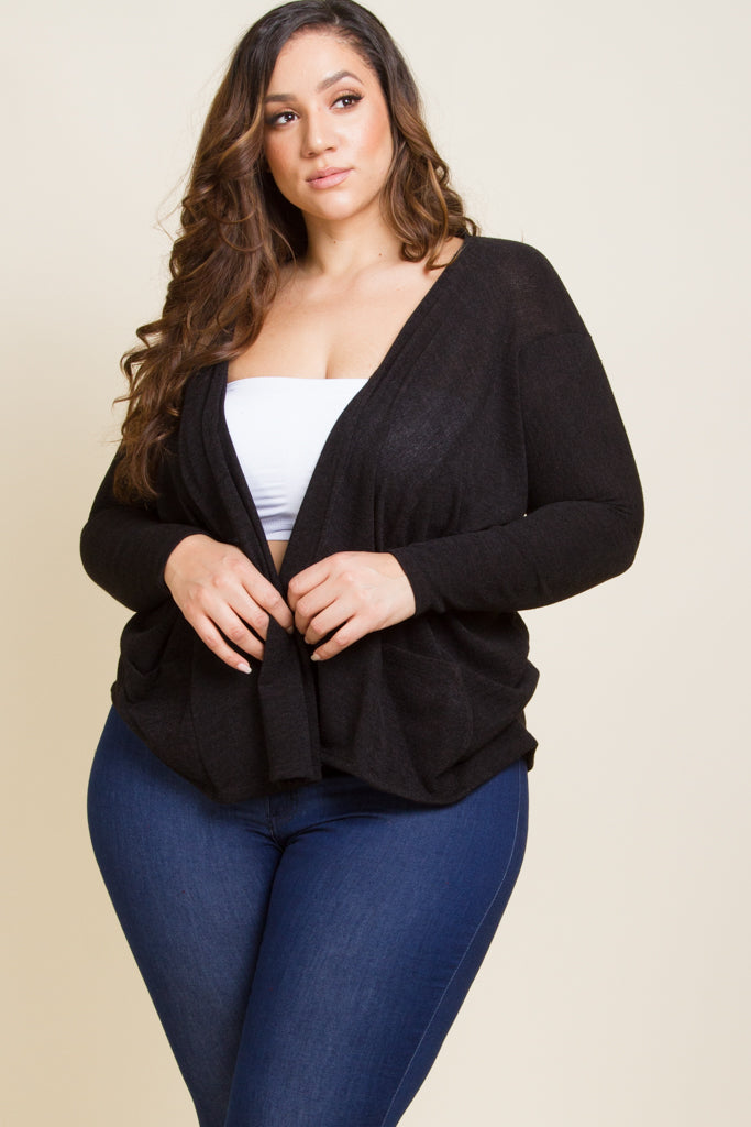 Plus Size Long Sleeve Open Cardigan