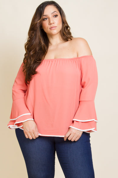 Plus Size Off Shoulder Ruffle Sleeve Blouse