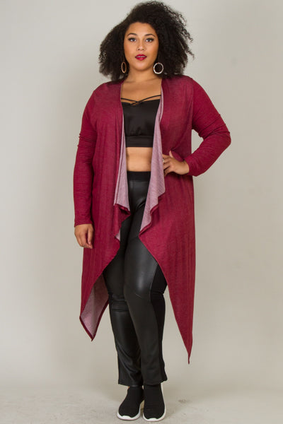 Plus Size Long Drape Cardigan With Braided Cut-Out At The Back
