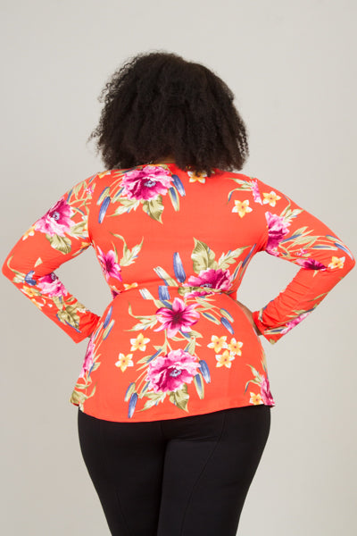 Plus Size V-Neck Floral Top