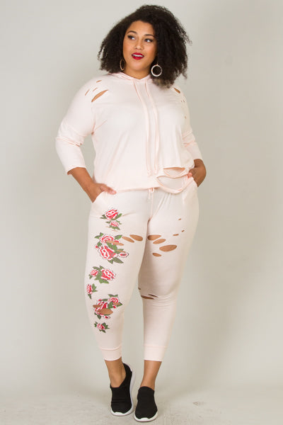 Plus Size Floral Distressed Jogger Set