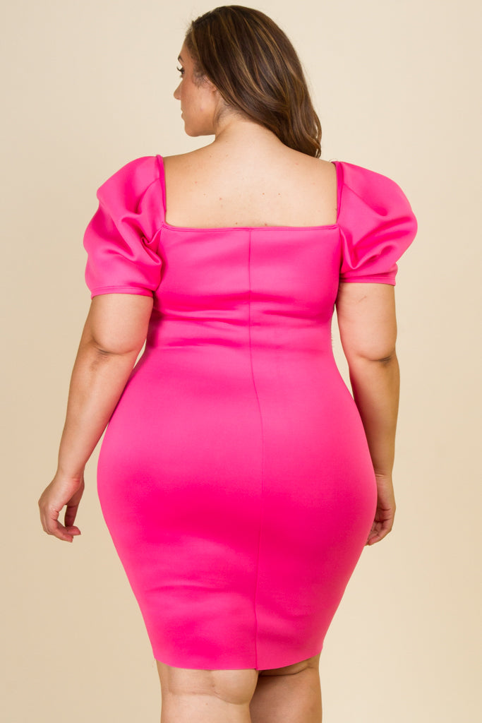 Plus Size Puffed Short Sleeve Mini Dress