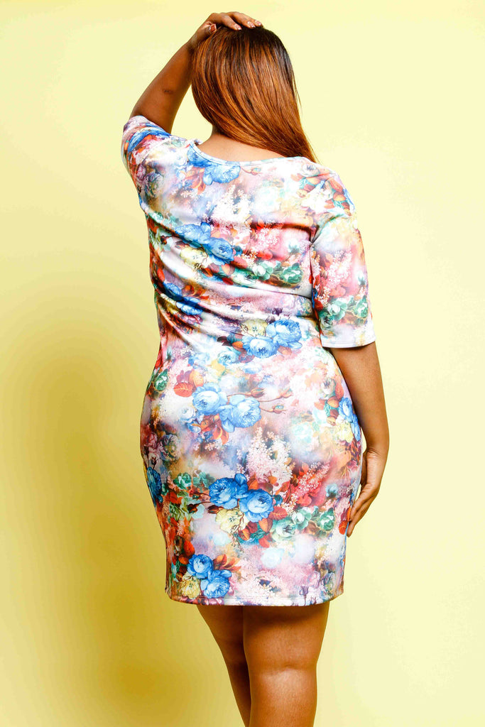 Plus Size Floral Watercolor Bodycon Dress
