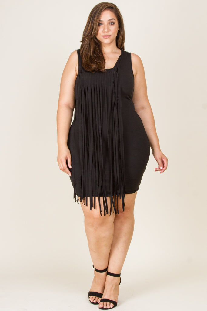 Plus Size Fringe Mini Dress