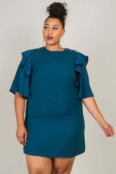 Plus Size Short Bell Layered Sleeve With Crisscross Accent On Shoulder