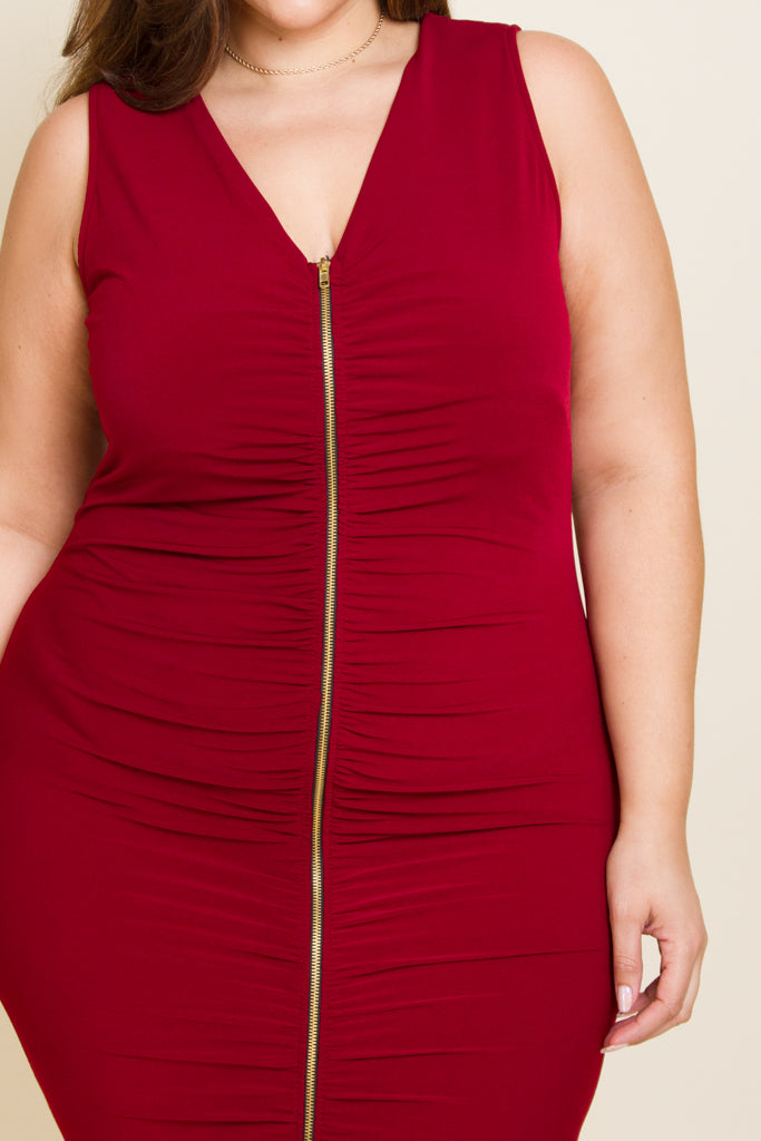 **FINAL SALE** Plus Size Zip Down Ruched Dress