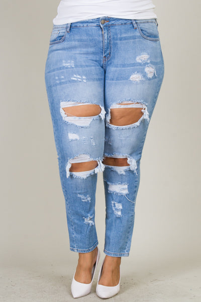 Plus Size Mid Rise Washed Down Skinny Jeans