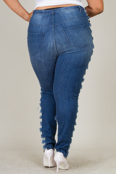 Plus Size High Rise Side Sliced Skinny Jeans