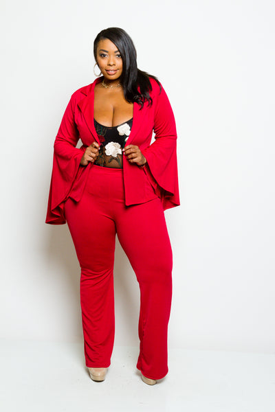 **FINAL SALE** Plus Size Bell Sleeve Blazer and Pants Set