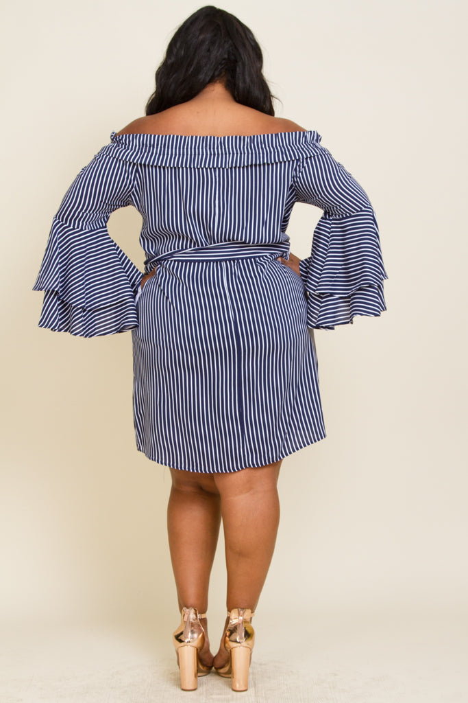Plus Size Off Shoulder Strip Dress