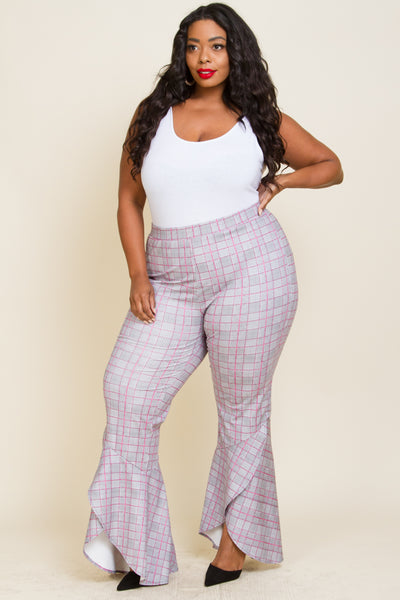 Plus Size Plaid Ruffle Pants