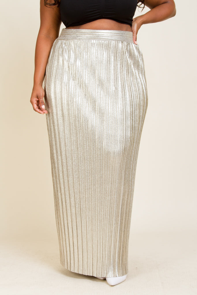 Plus Size Shimmer Cocktail Maxi Skirt