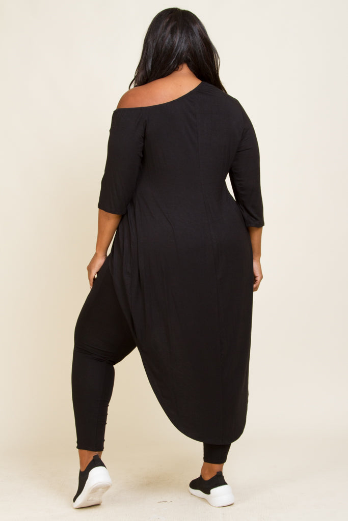 Plus Size Overlap Front High Low Top