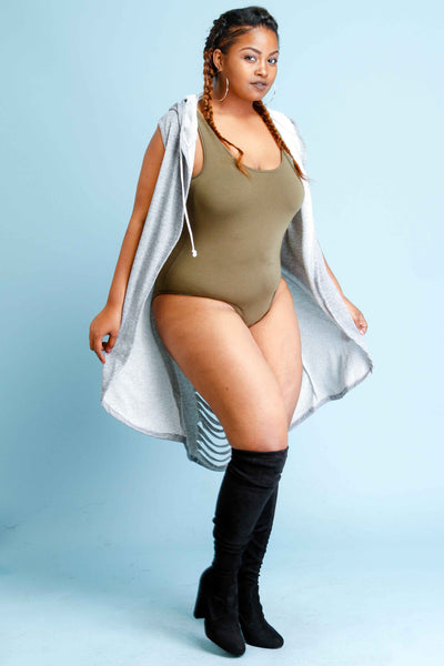 Plus Size Long Vest with Hood