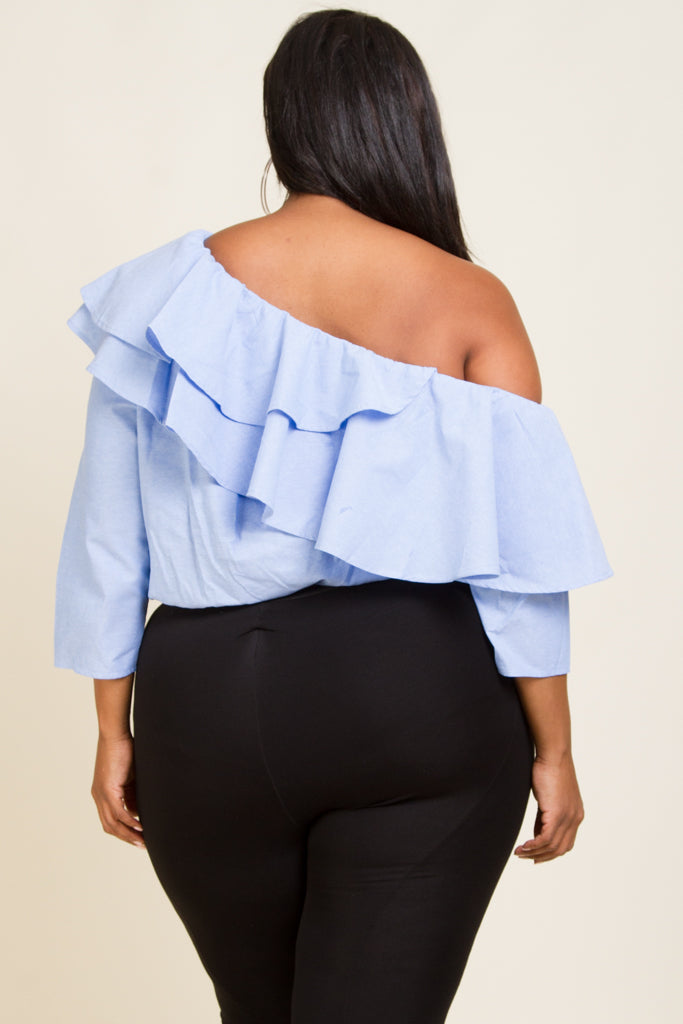Plus Size Ruffle Off Shoulder Blouse