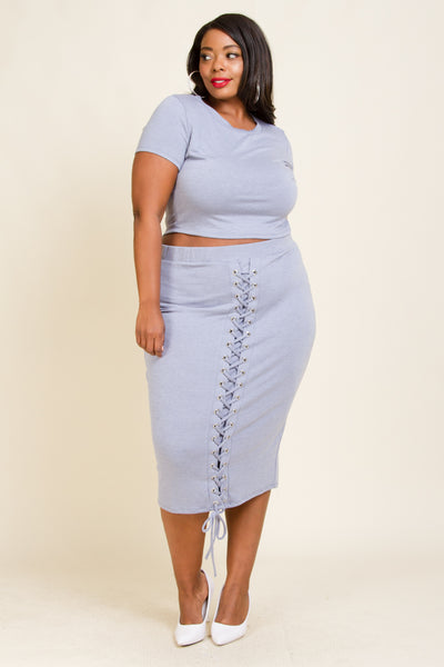 Plus Size Front Back Tie Crop Top Skirt Set