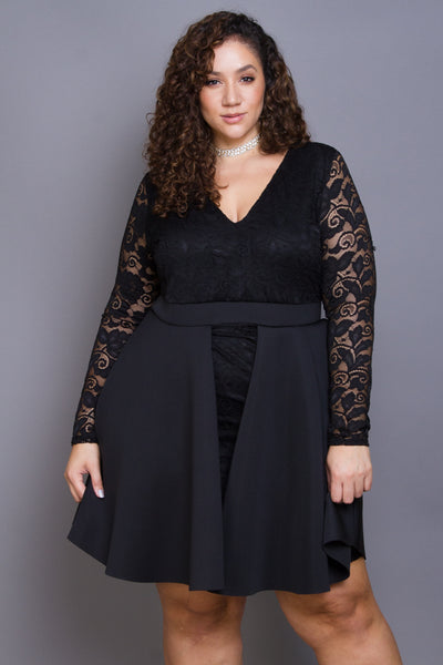 Plus Size Sheer Crochet Lace Flare Dress