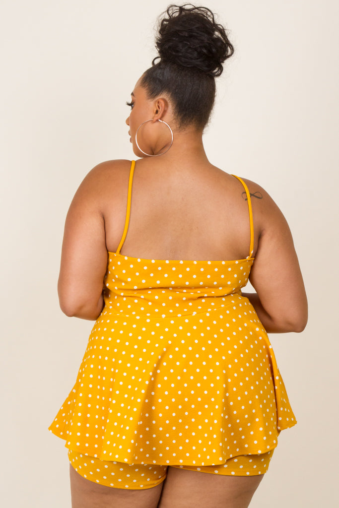 Plus Size Sleeveless Dot Romper