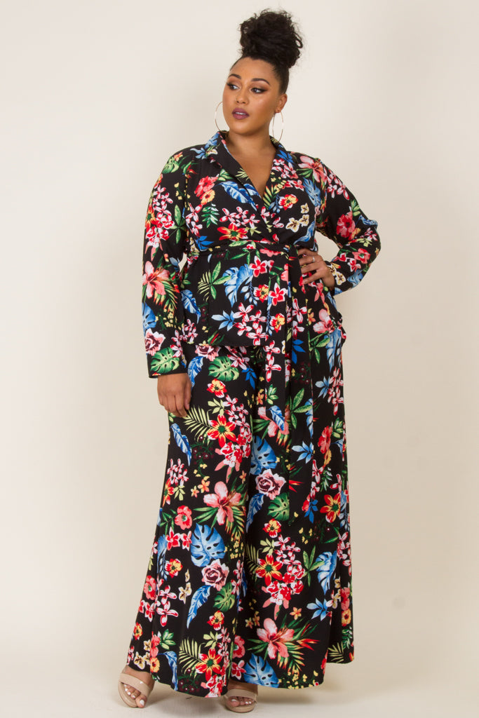 Plus Size Floral Tropical 2-Piece Blazer Pants Set