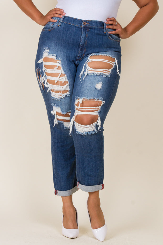 Plus Size Distressed Girlfriend Jeans