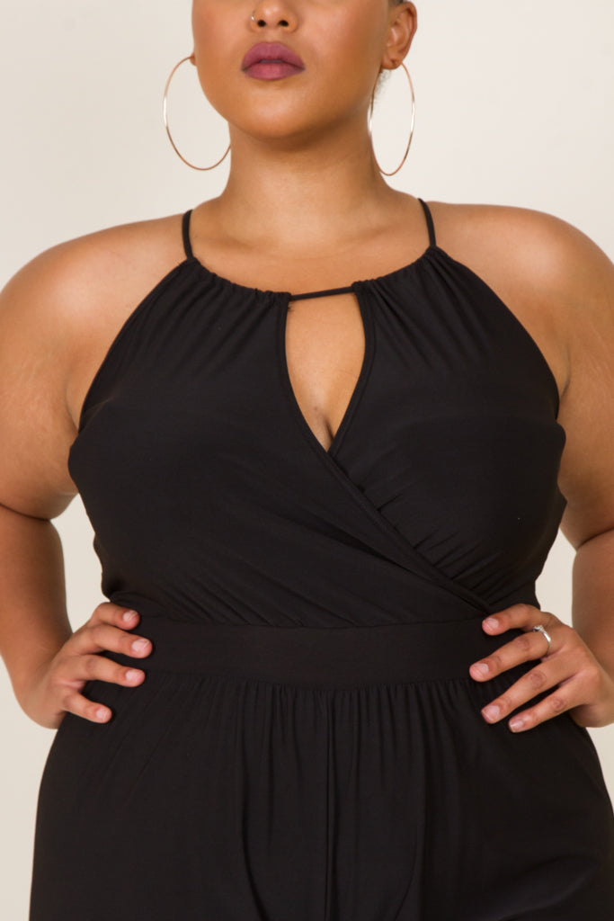 Plus Size Cowl Neck Metal Dress