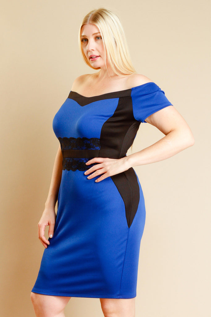 Plus Size Laced Waist Contrast Fit Dress