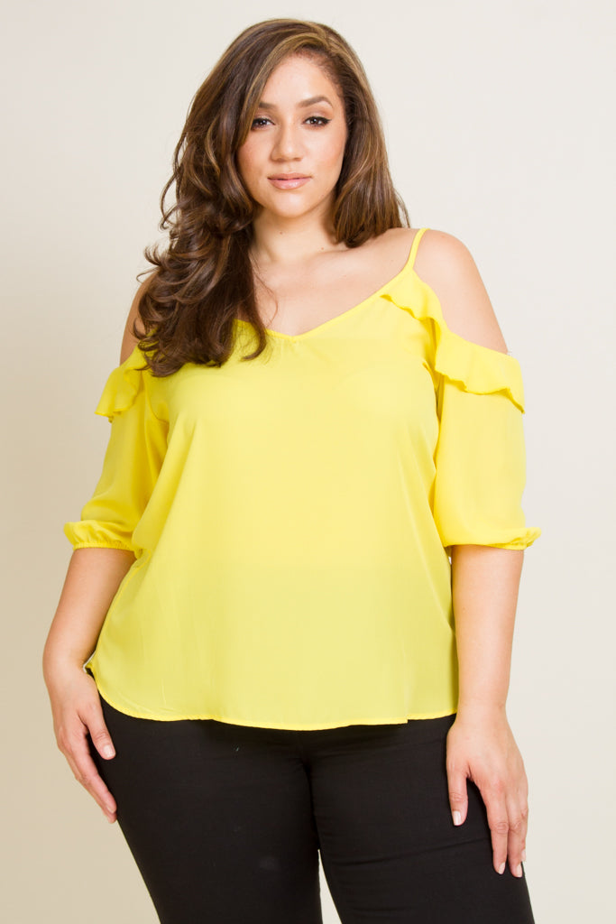 Plus Size Open Shoulder 3/4 Sleeve Top