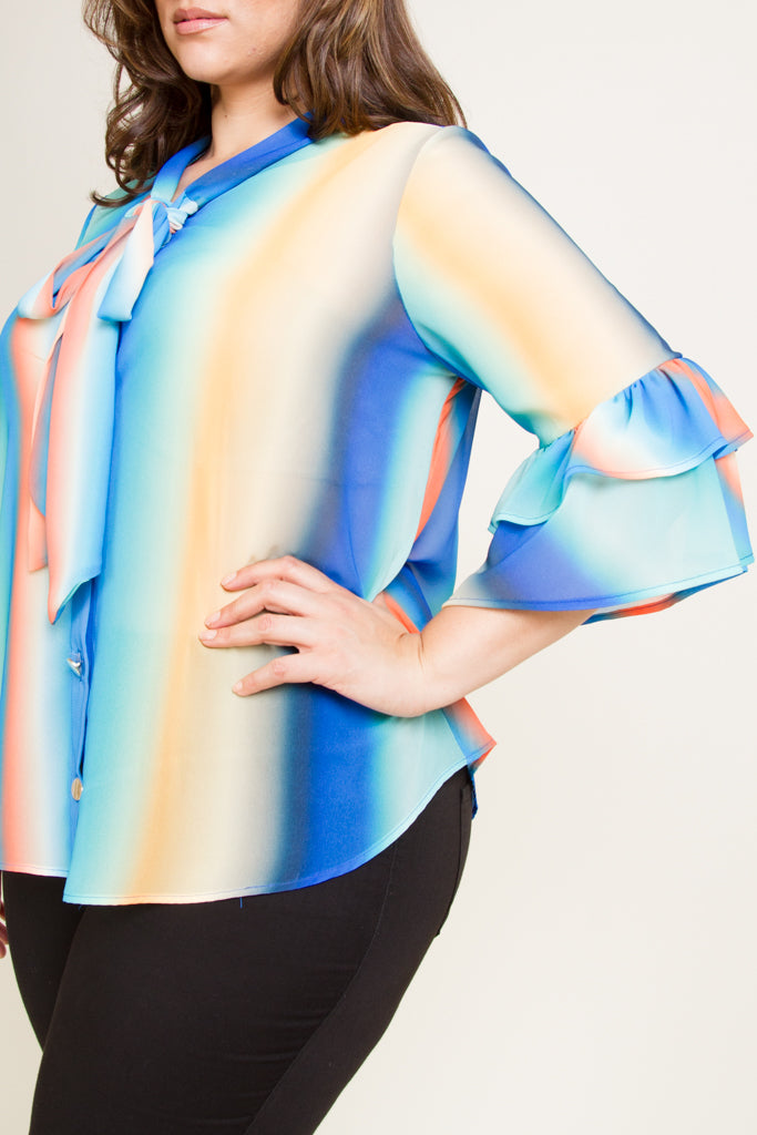 Plus Size Ribbon Point Blouse