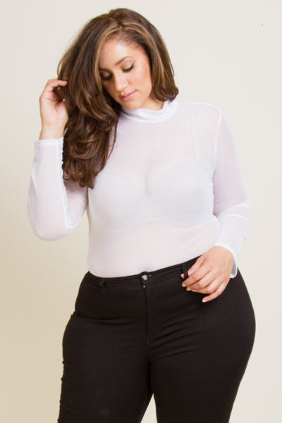 Plus Size High Neck Mesh Bodysuit
