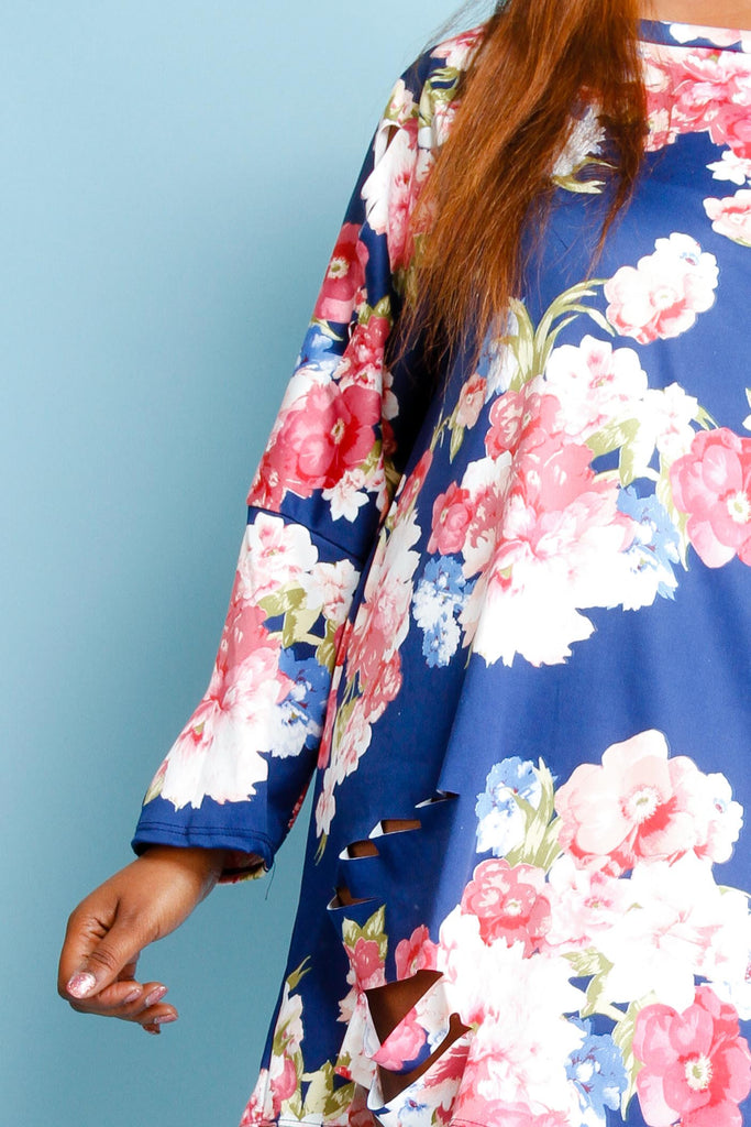 Plus Size Off Shoulder Floral Tunic Dress