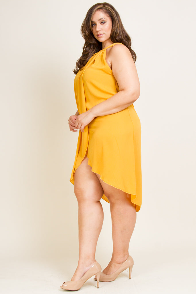 Plus Size Overlap Halter Dress