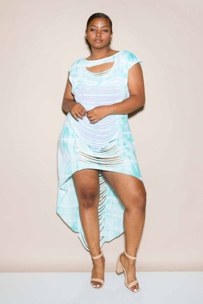 Plus Size Tie Dye Sliced High Low Jersey Tunic