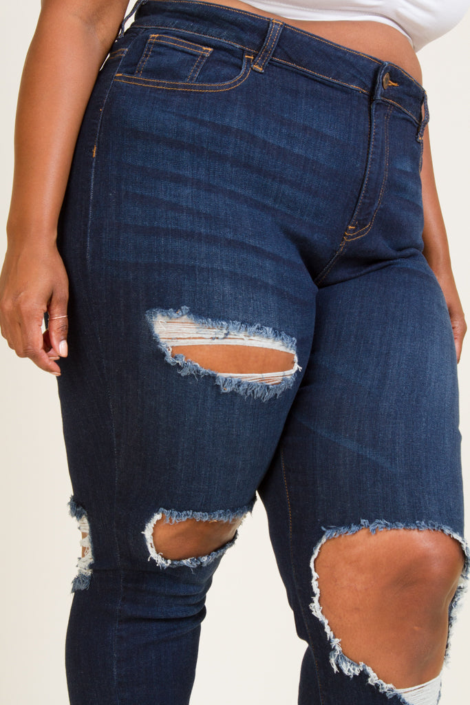 Plus Size Front And Back Knee Distruction