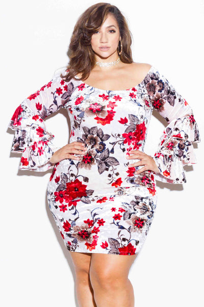 Plus Size Floral Velvet Dress with Ruffle Sleeves