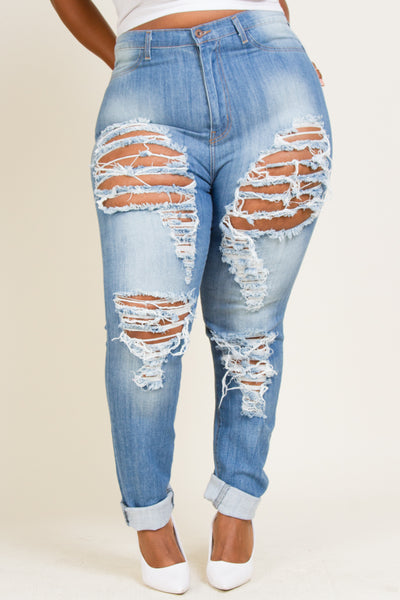 Plus Size Hand Sanding & Destruction Jeans