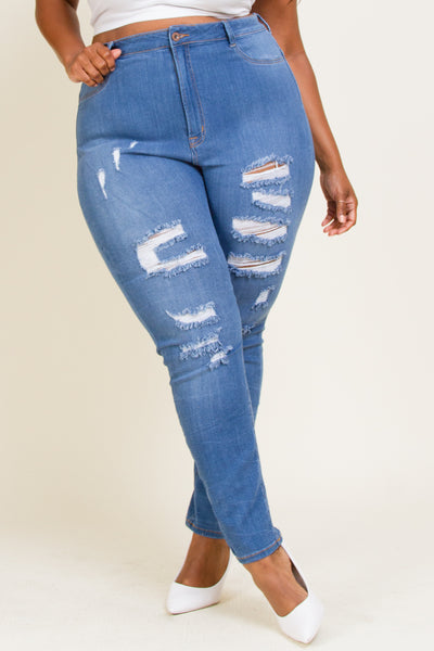 Plus Size Front Leg Destruction Jeans