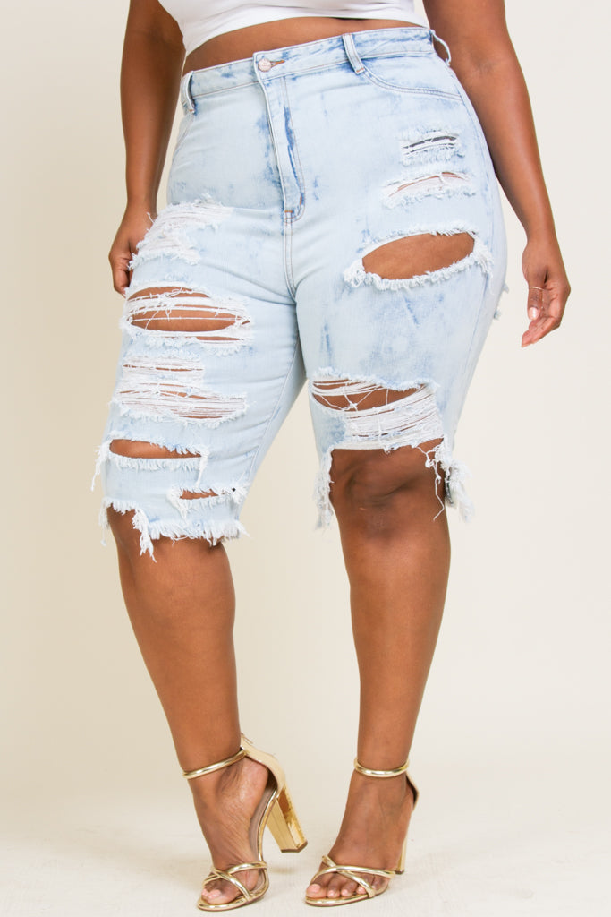 Plus Size Heavy Destruction Capri's