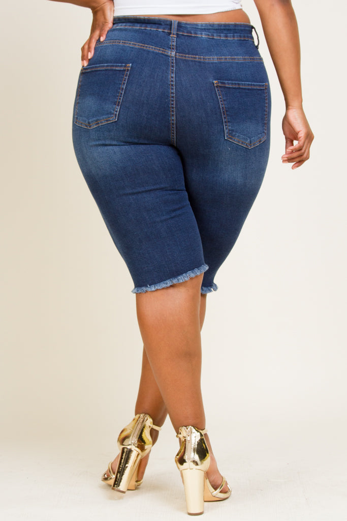 Plus Size Distressed Denim Capris