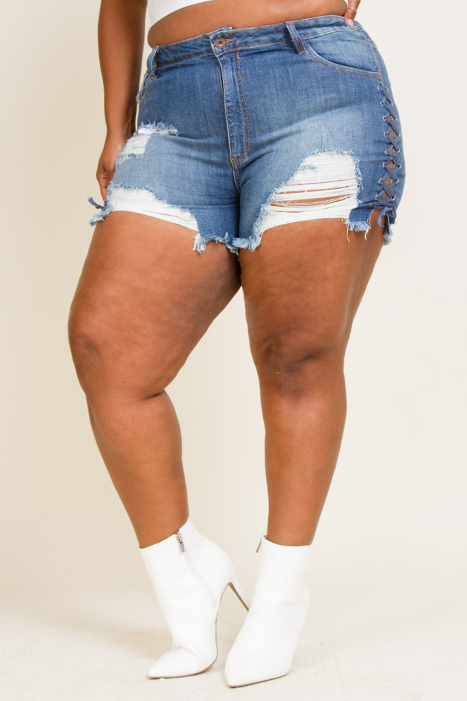 Plus Size Lace Up Shorts