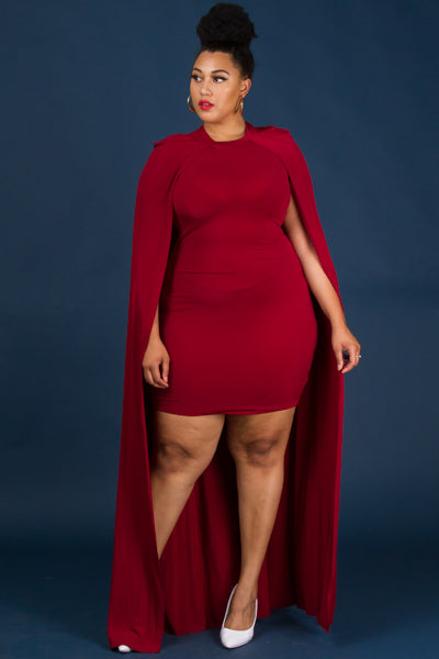 Plus Size Cape Back Mini Dress