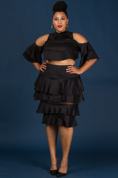 Plus Size Beautiful Ruffle Layered Top Skirt Set