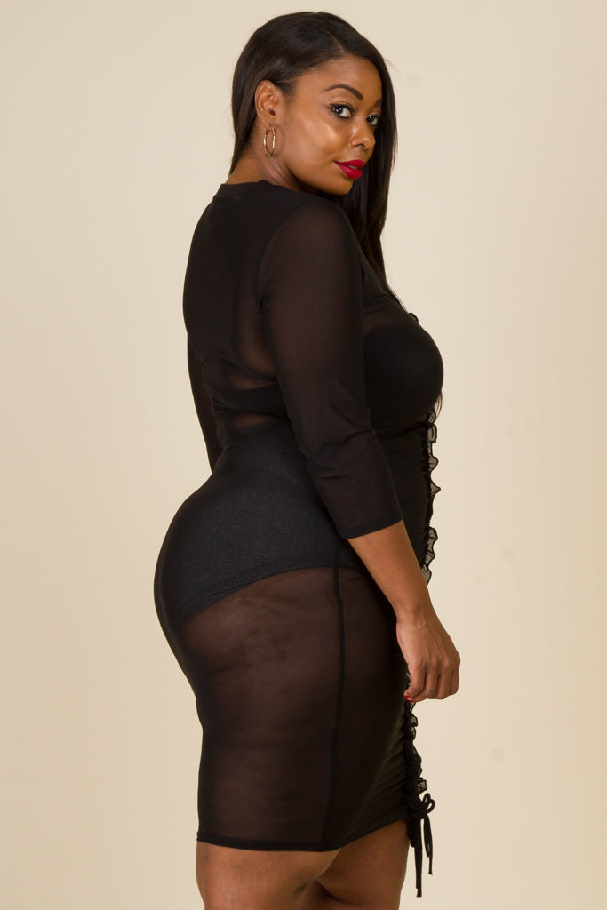 Plus Size Ruched Mesh Dress