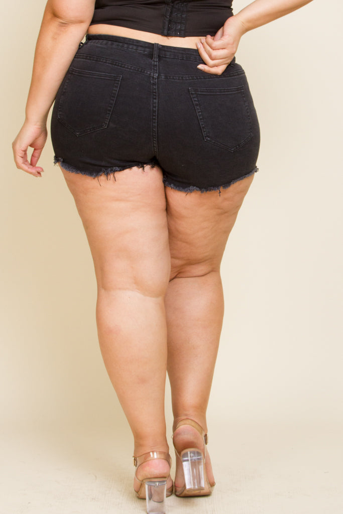 Plus Size Mini Denim Shorts