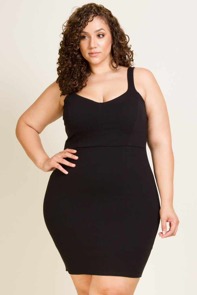 Plus Size Bodycon Sleeveless Mini Dress