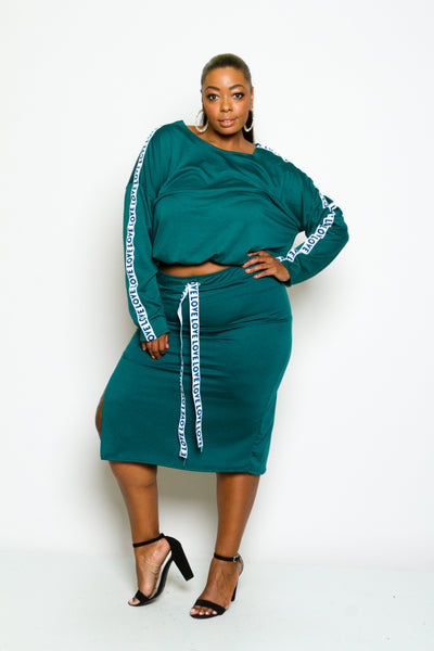 Plus Size LOVE Long Sleeve Top and Skirt Set