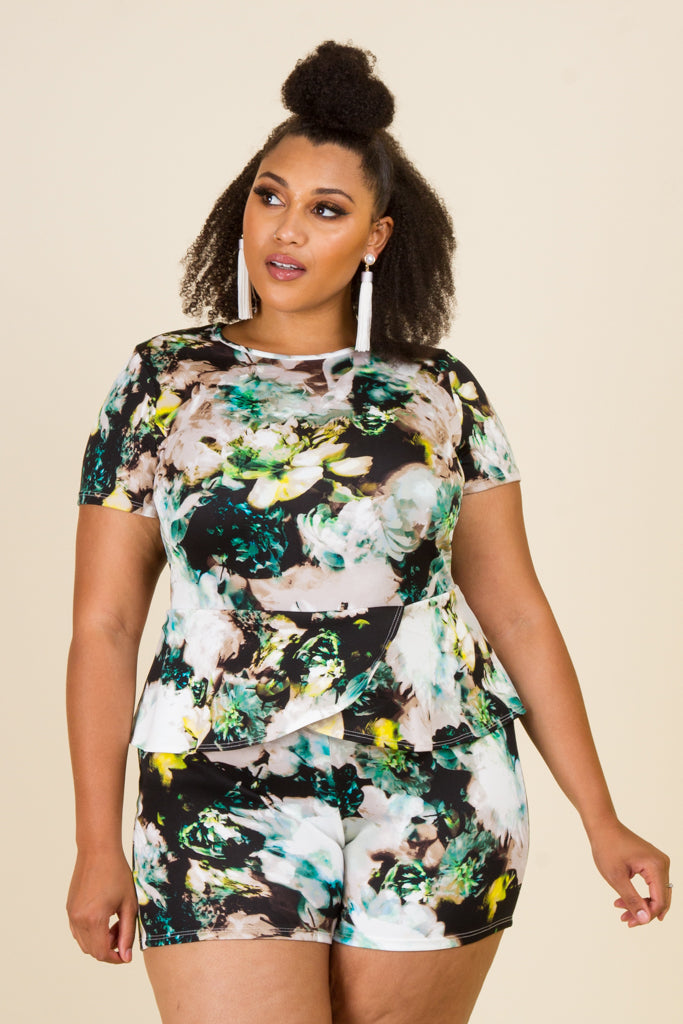 Plus Size Peplum Short Sleeve Romper