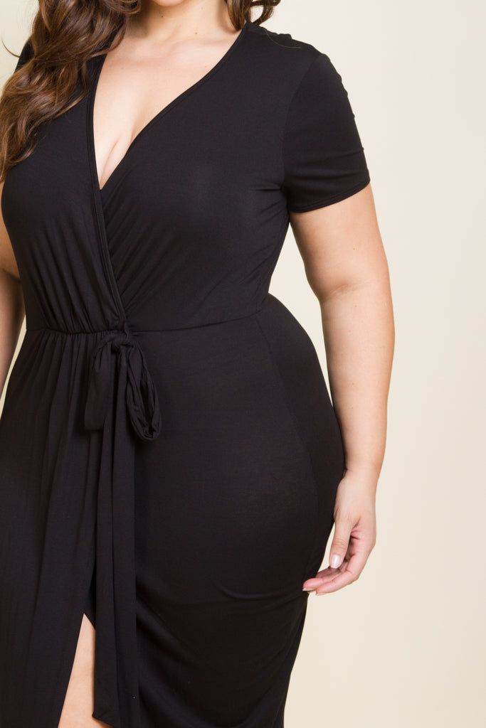Plus Size Sexy Slit Side Surplice Tie Dress