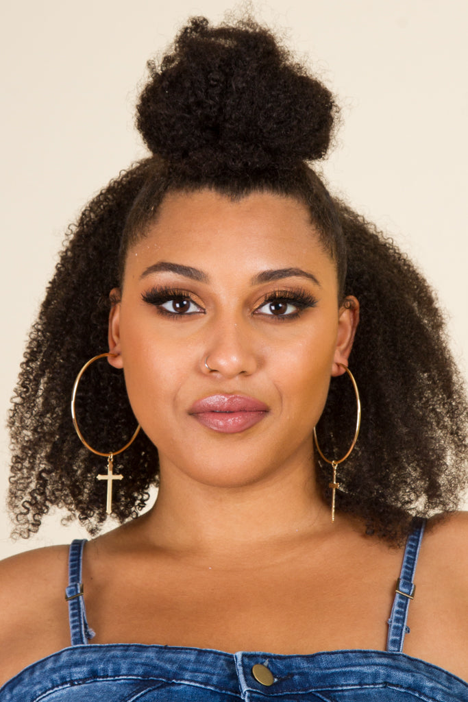 **FINAL SALE** Cross Hoop Earrings
