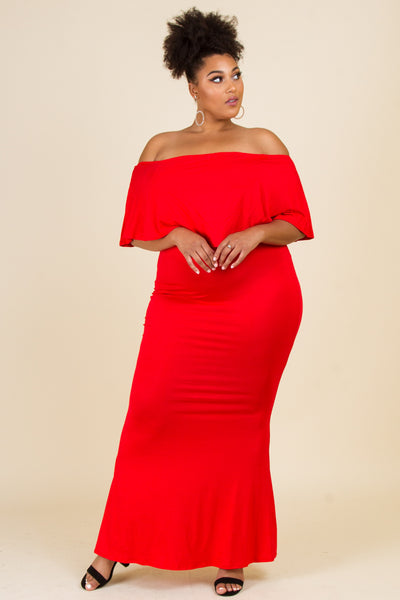 Plus Size Off Shoulder Fold Over Long Maxi Dress