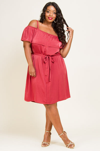 Plus Size Ruffled Off Shoulder Button Down Dress